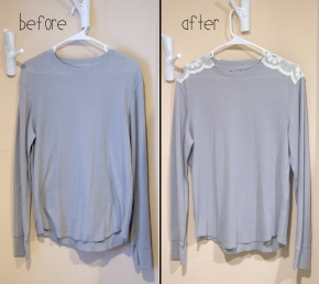 DIY Lace Shoulder Top